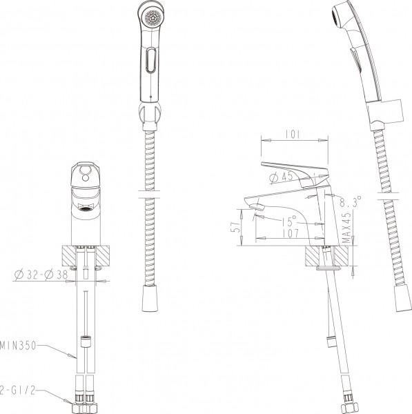 Смесителье Bravat Drop-D для раковины с гигиеническим душем