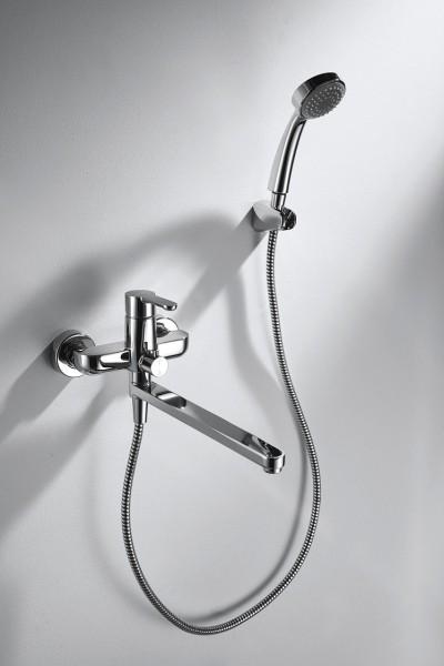 Смеситель Bravat Stream для ванны с длинным изливом (с аксессуарами)