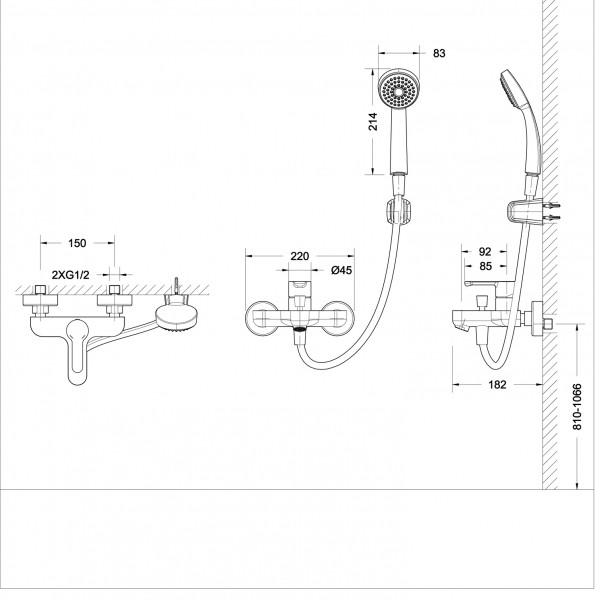 Смеситель Bravat Stream для ванны с коротким изливом (с аксессуарами)