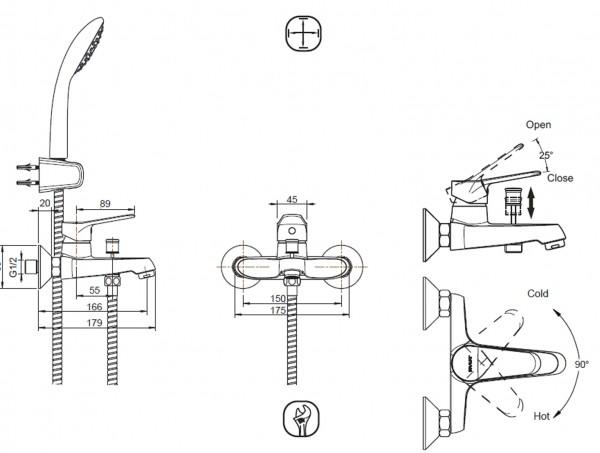 Смеситель Bravat Eco для ванны с коротким изливом (с аксессуарами)