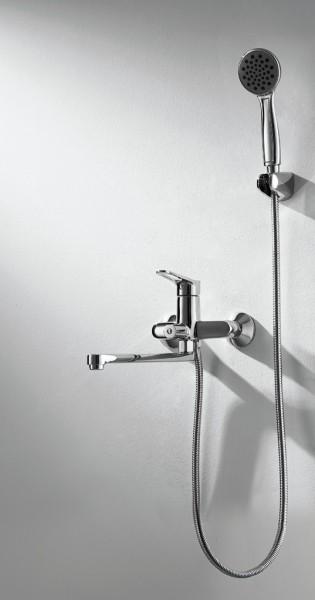 Смеситель Bravat Eco-D для ванны с длинным изливом (с аксессуарами)