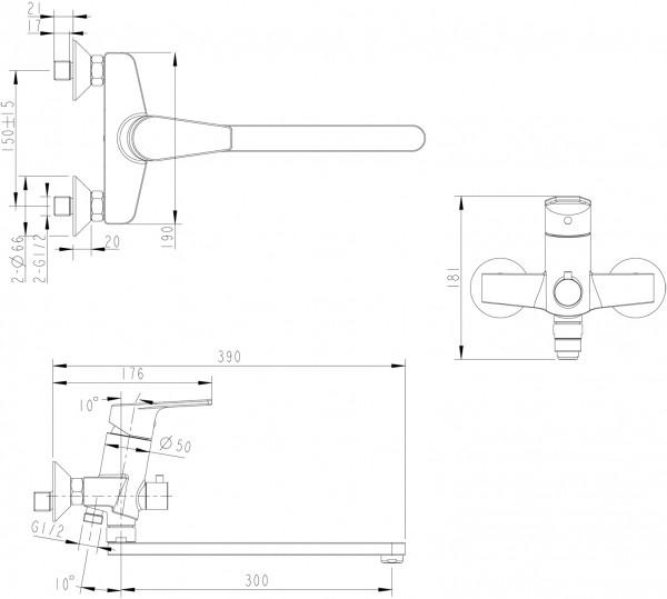 Смеситель Bravat Line для ванны с длинным изливом (без аксессуаров)