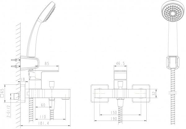 Смеситель Bravat Riffle для ванны с коротким изливом (с аксессуарами)