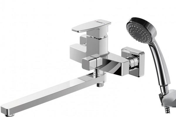 Смеситель Bravat Riffle для ванны с длинным изливом (с аксессуарами)