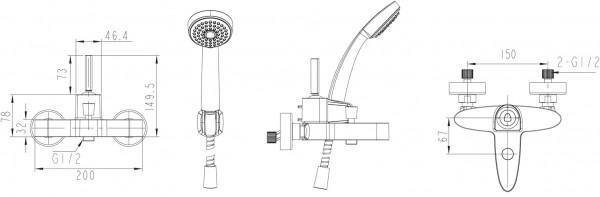 Смеситель Bravat Spring для ванны с коротким изливом (с аксессуарами)