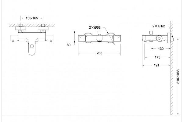Смеситель Bravat Stream термостатический для ванны с коротким изливом (без аксессуаров)