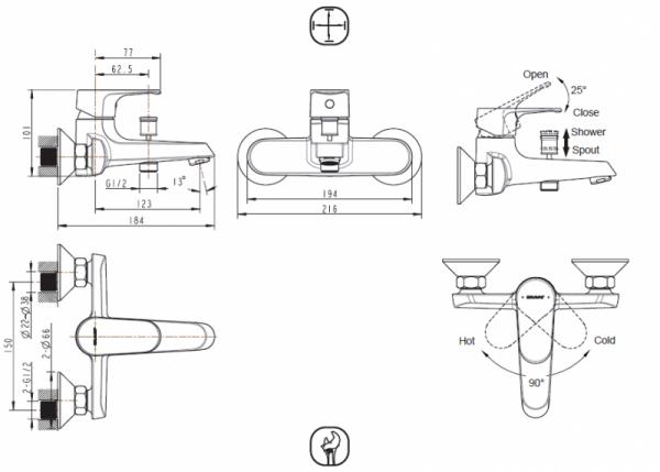 Смеситель Bravat Alfa для ванны с коротким изливом (без аксессуаров)