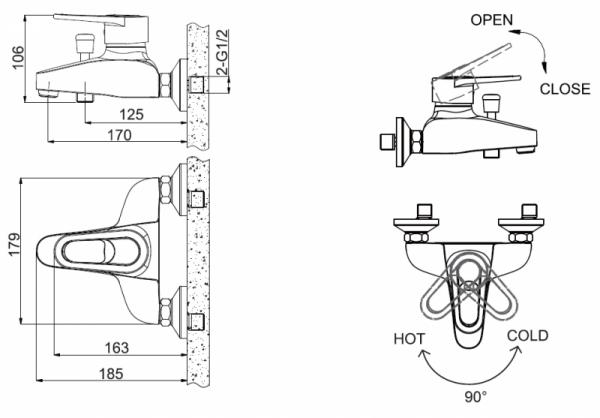 Смеситель Bravat Loop для ванны с коротким изливом (без аксессуаров)
