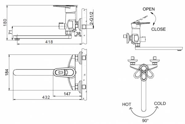 Смеситель Bravat Loop для ванны с длинным изливом (без аксессуаров)