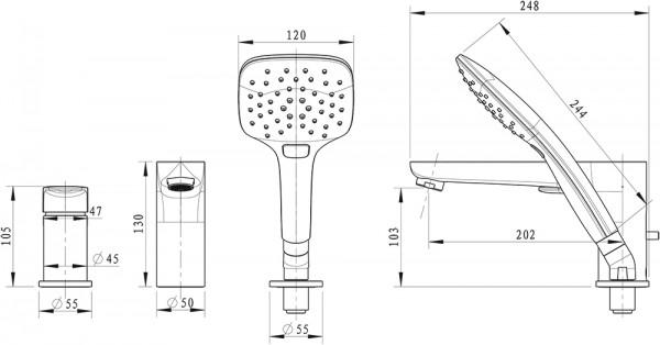 Смеситель Bravat Iguassu для ванны врезной на 3 отверстия