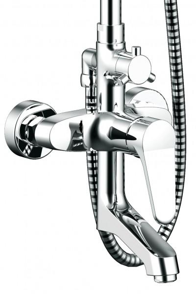 Душевая колонна со смесителем для ванны с поворотным изливом Bravat Eco
