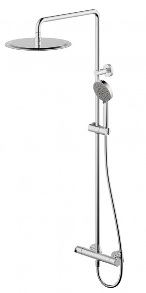 Душевая колонна с термостатом для душа и металлическим верхним душем Bravat Waterfall