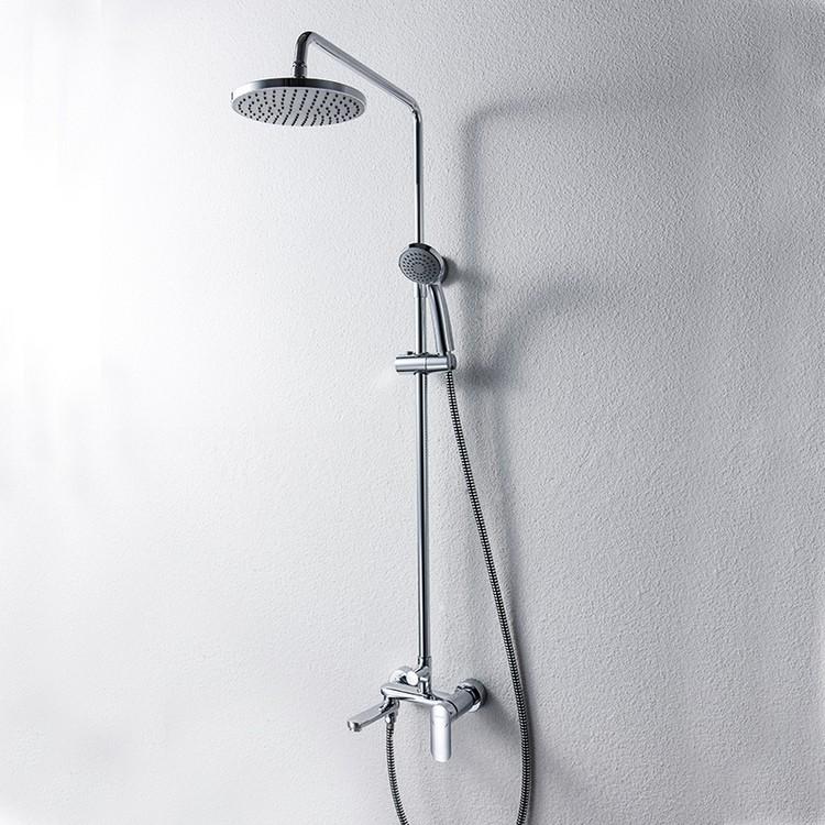 Душевая колонна со смесителем для ванны с поворотным изливом и круглым душем Bravat Opal