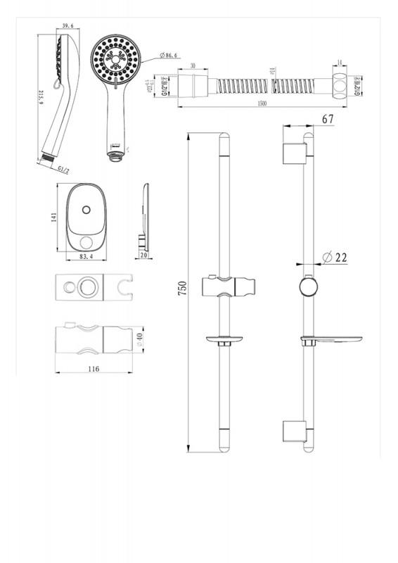 Душевой комплект Bravat Eco 3-режима