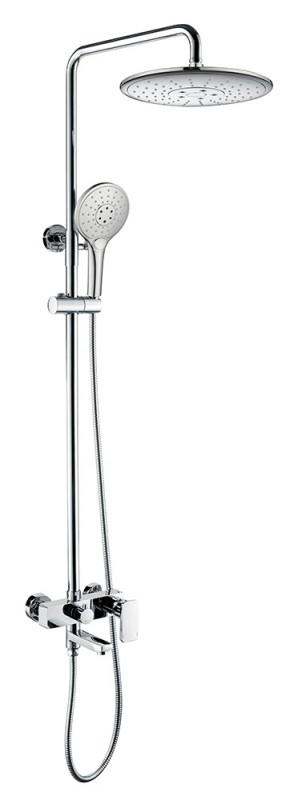Душевая колонна со смесителем для ванны с поворотным изливом Bravat Riffle