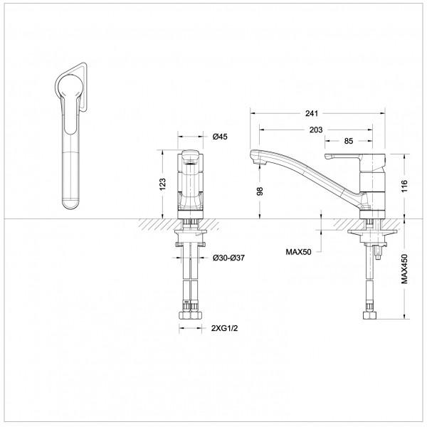 Смеситель для кухни Bravat Stream низкий с изливом 200 мм