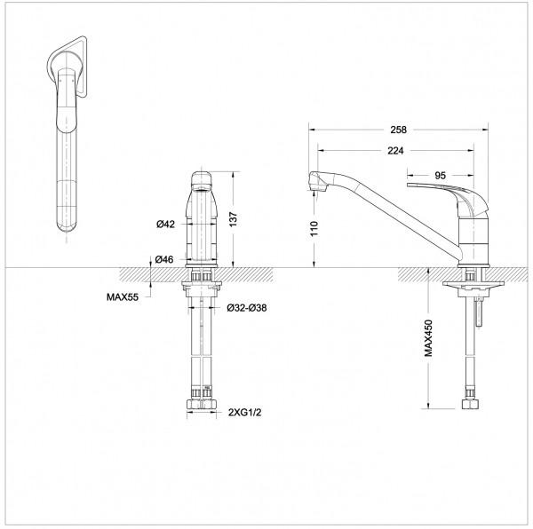 Смеситель для кухни Bravat Fit низкий с изливом 220 мм
