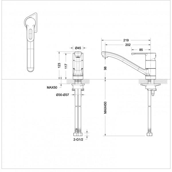 Смеситель для кухни Bravat Stream-D низкий с изливом 200 мм