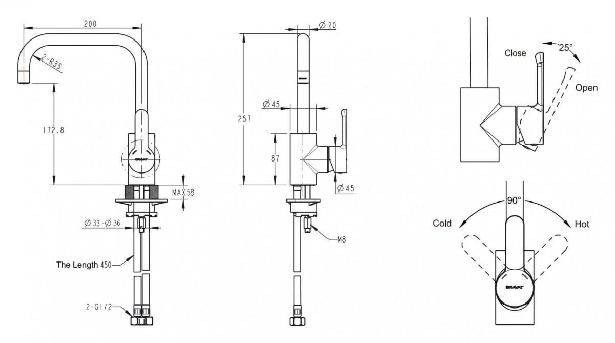 Смеситель для кухни Bravat Stream с высоким поворотным изливом