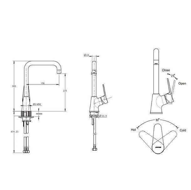 Смеситель для кухни Bravat Eco-D с высоким поворотным изливом