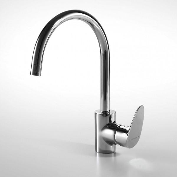 Смеситель для кухни Bravat Drop с высоким поворотным изливом