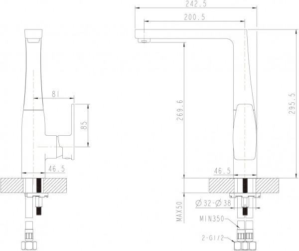 Смеситель для кухни Bravat Riffle с высоким поворотным изливом
