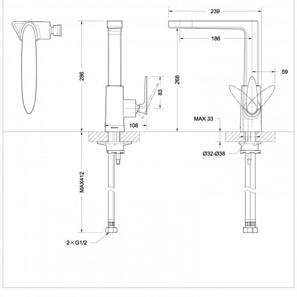 Смеситель для кухни Bravat Spring с высоким поворотным изливом