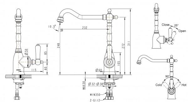 Смеситель для кухни Bravat Art с высоким поворотным изливом (бронза)