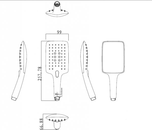 Душевая лейка Bravat Square с тремя режимами переключения