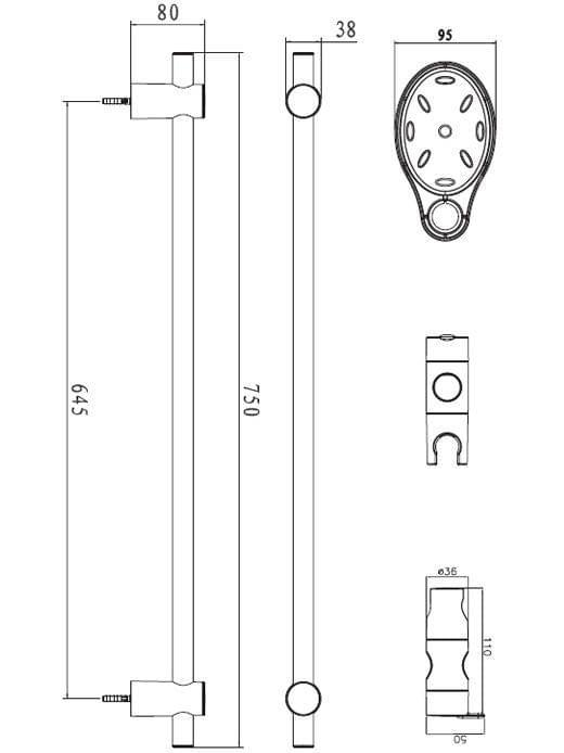 Душевая штанга Bravat D150CP-1-RUS с мыльницей