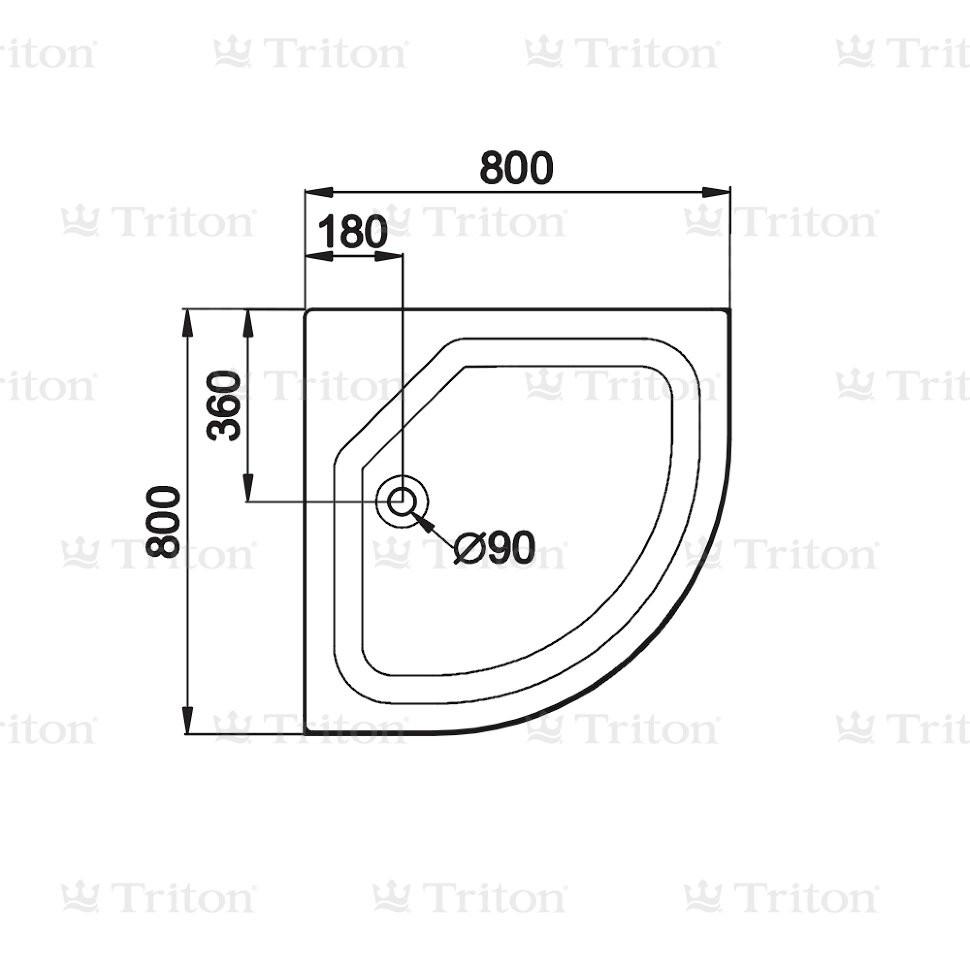 Душевой поддон Тритон ПД22 80*80 низкий (170 мм)