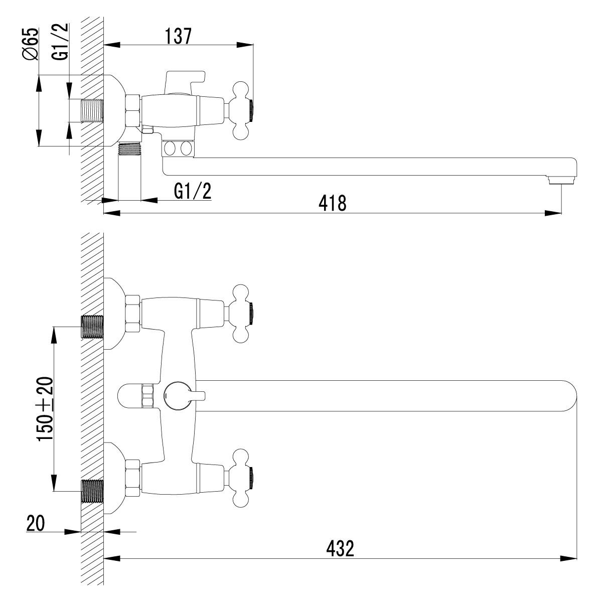 Смеситель для ванны Lemark Standard с длинным плоским изливом