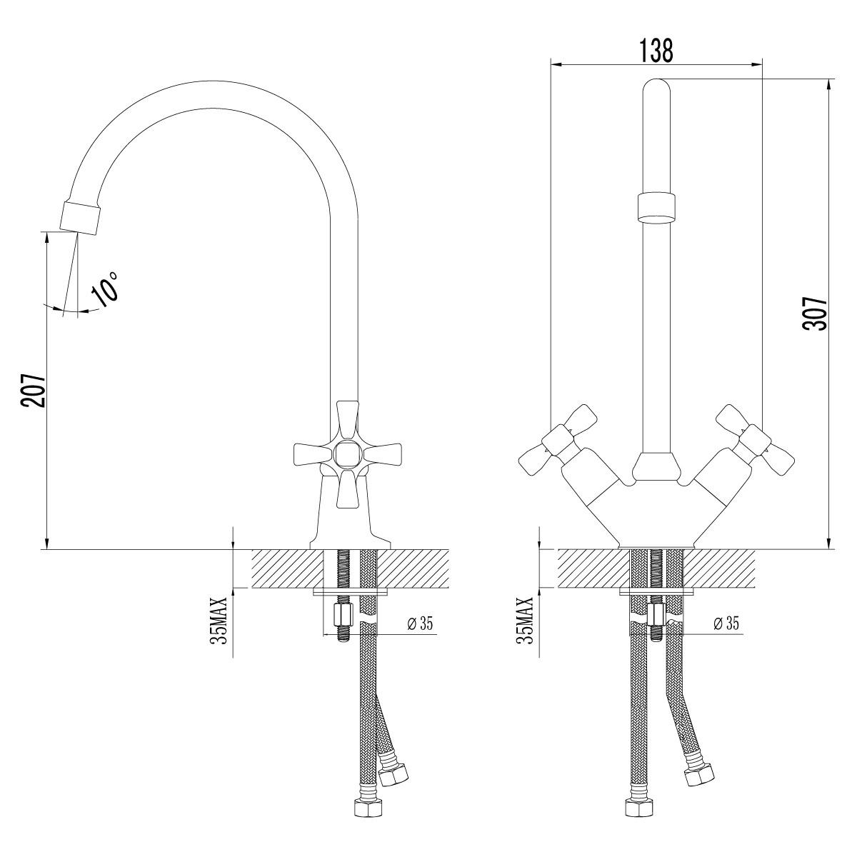 Смеситель для кухни Lemark Benefit с поворотным изливом 315 мм