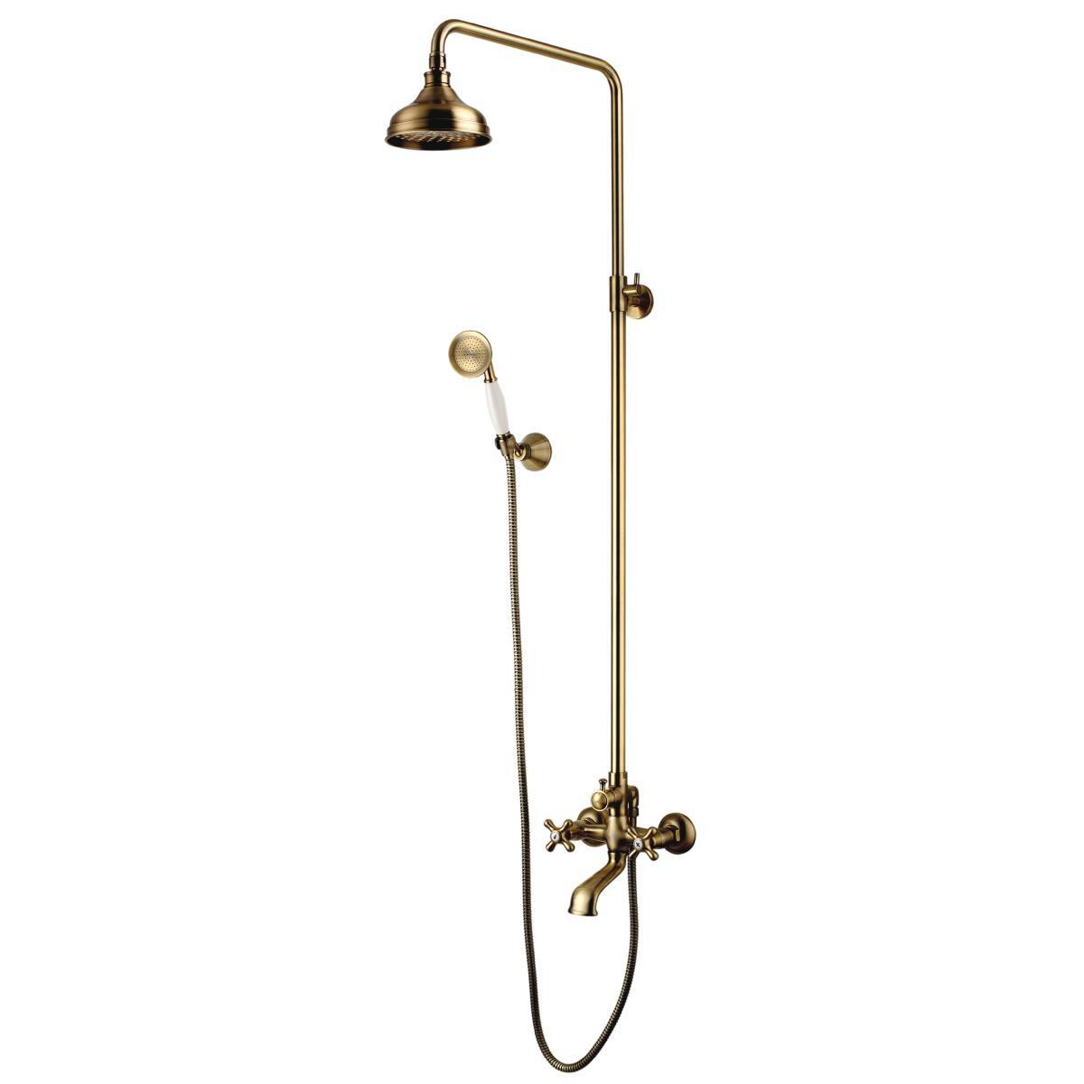 Душевая стойка Lemark Vintage с изливом и верхним душем, бронза