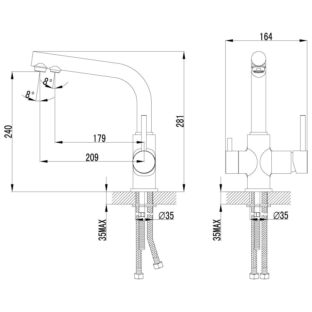 Смеситель Lemark Comfort LM3061C для кухни с подключением к фильтру