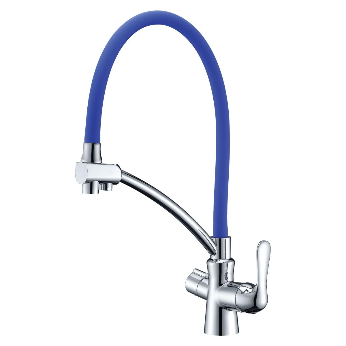 Смеситель для кухни Lemark Comfort с синим гибким изливом