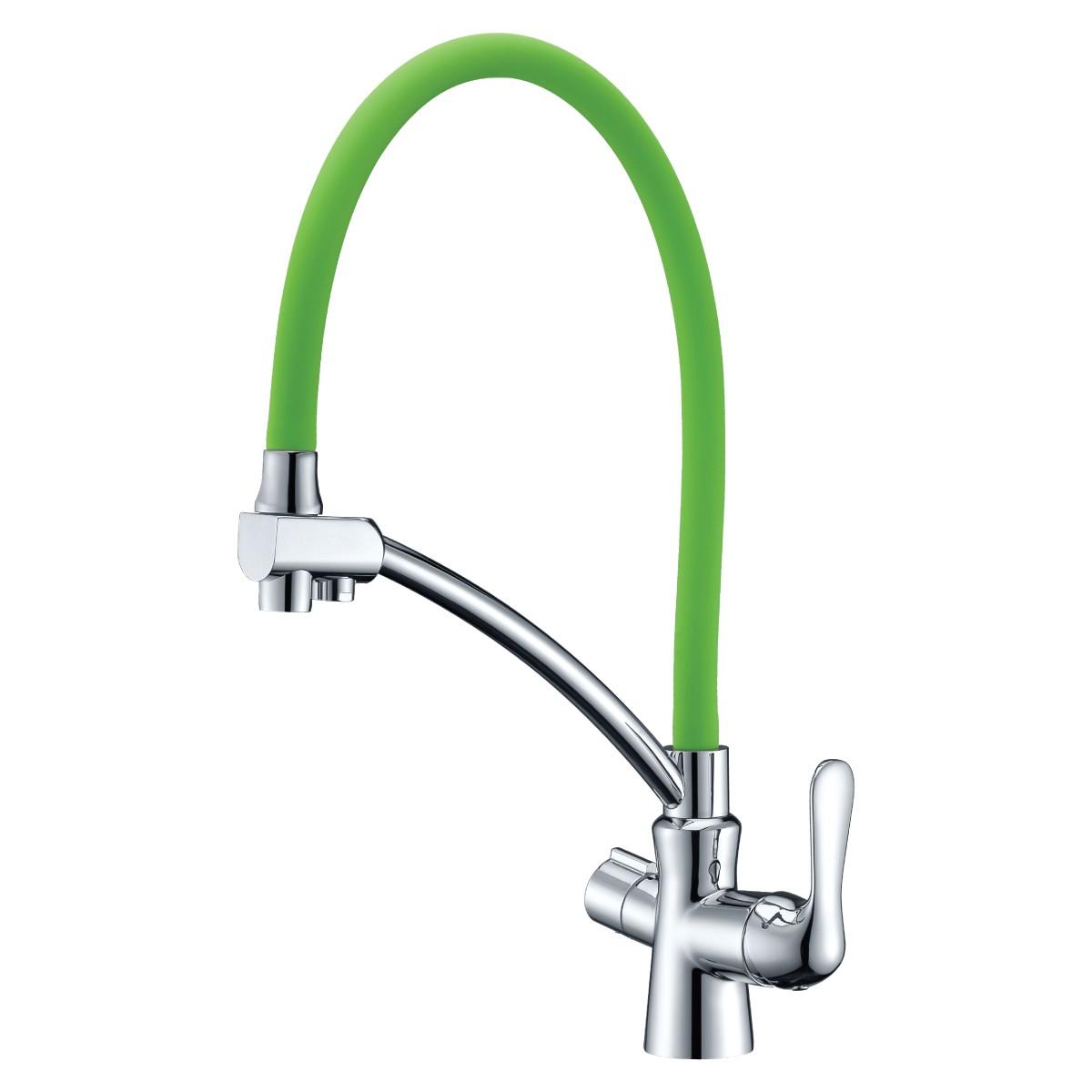Смеситель для кухни Lemark Comfort с зеленым гибким изливом