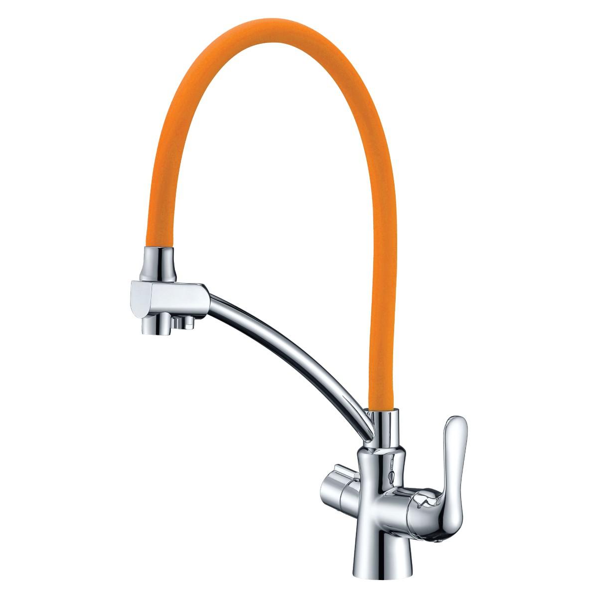 Смеситель для кухни Lemark Comfort с оранжевым гибким изливом