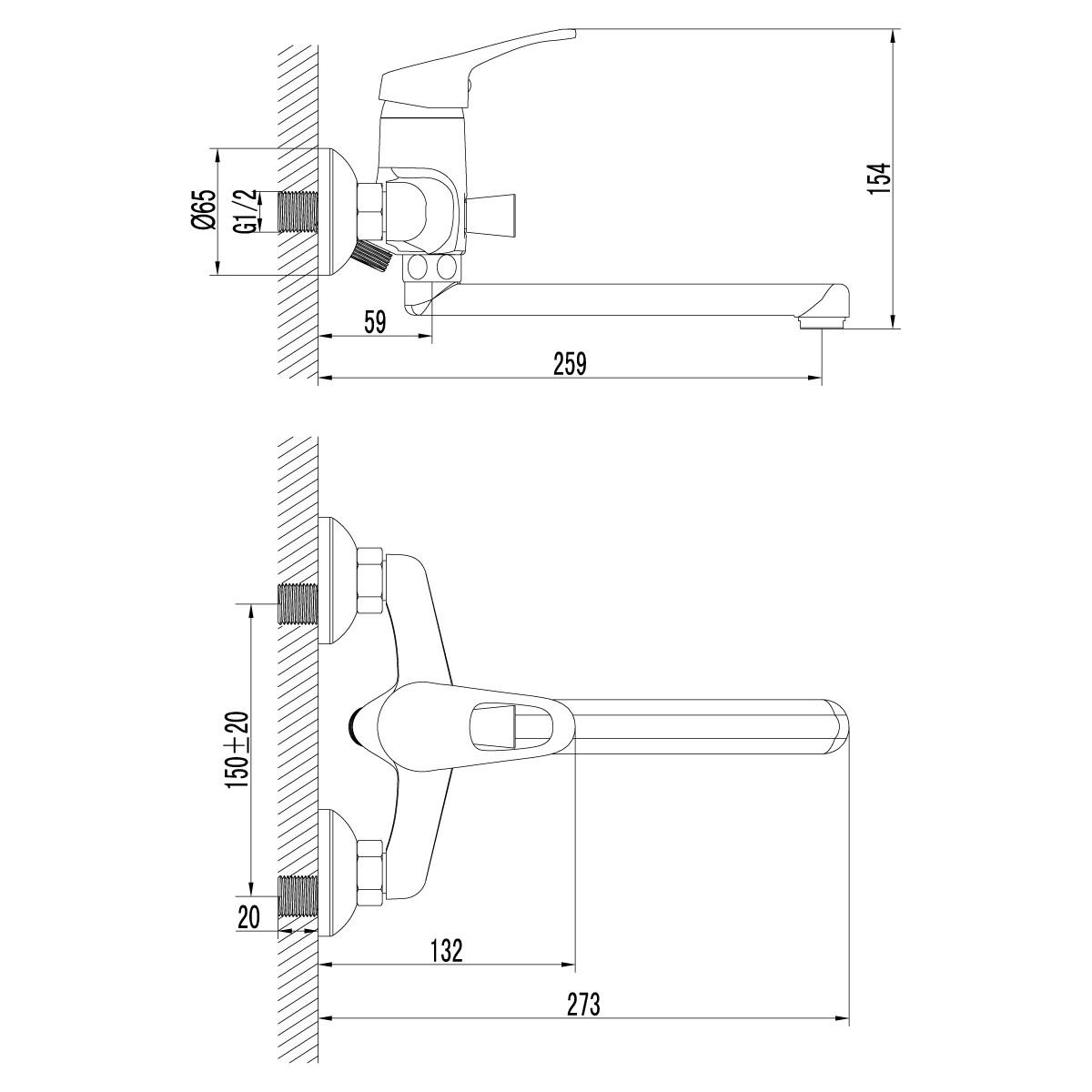Смеситель для ванны Lemark Omega с поворотным изливом 200 мм