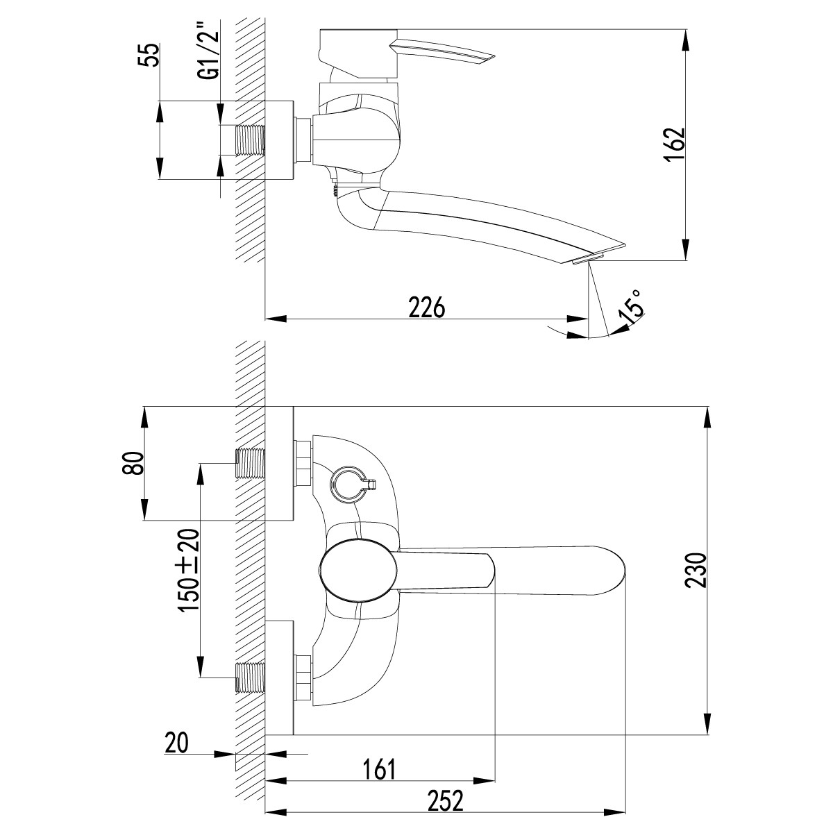 Смеситель для ванны Lemark Atlantiss с поворотным изливом 162 мм