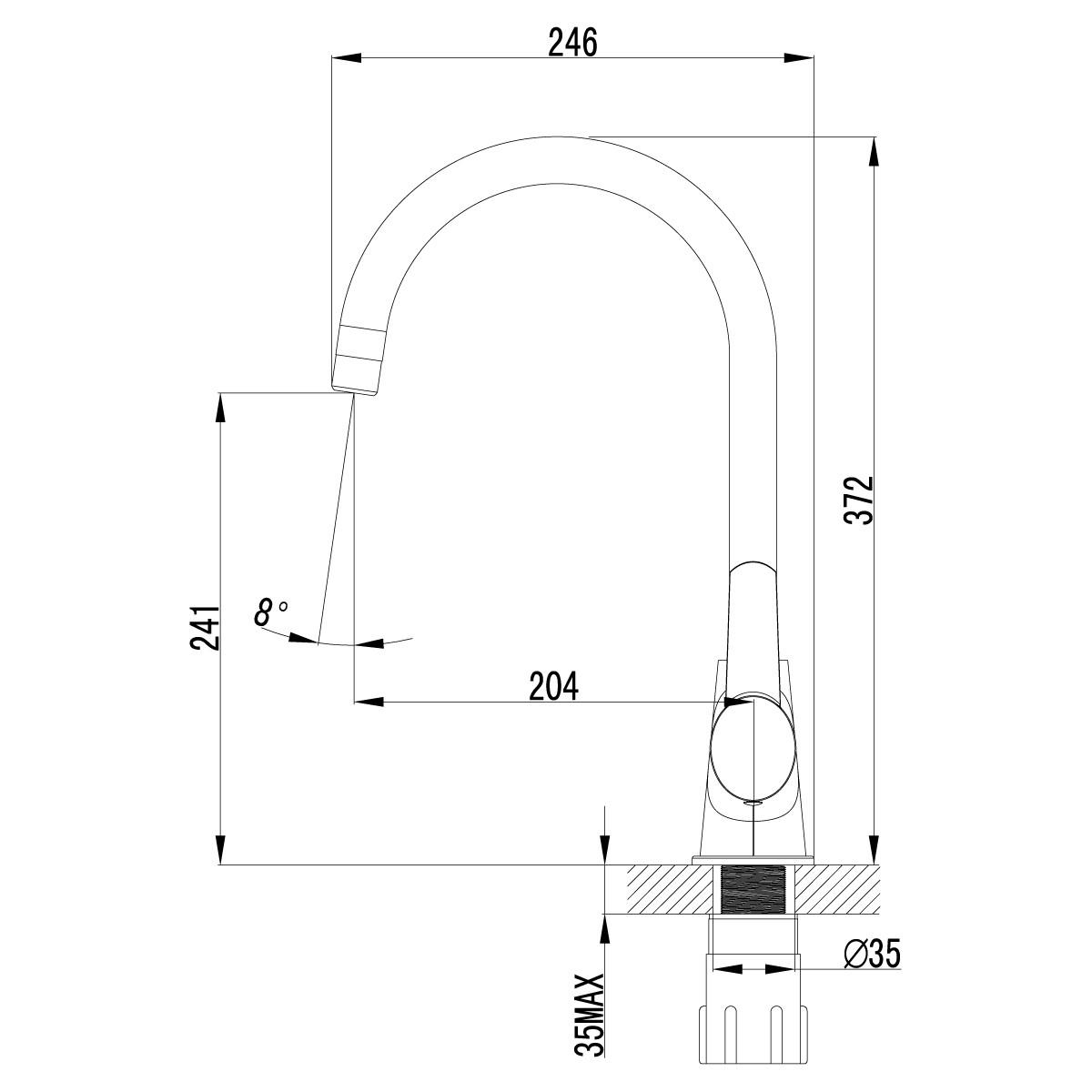 Смеситель для кухни Lemark Atlantiss LM3255C с высоким поворотным изливом