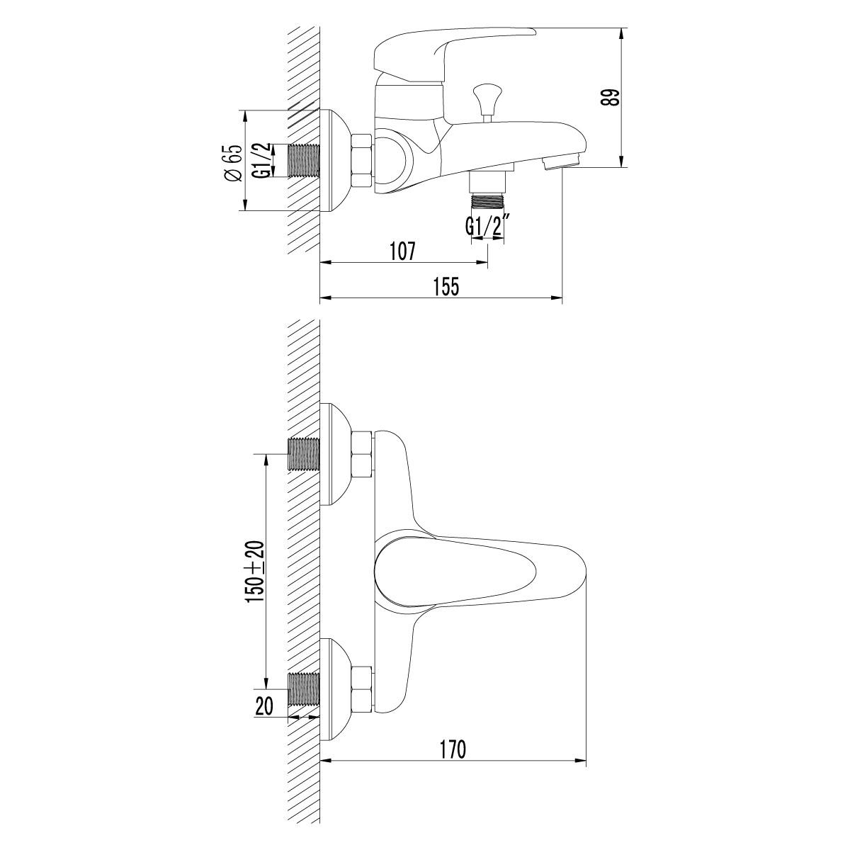Смеситель для ванны Lemark Pramen с коротким изливом