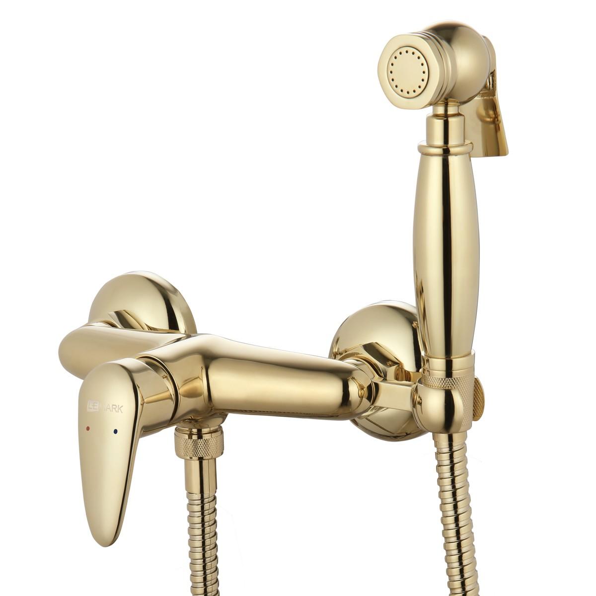 Смеситель с гигиеническим душем Lemark Pramen настенный, золото