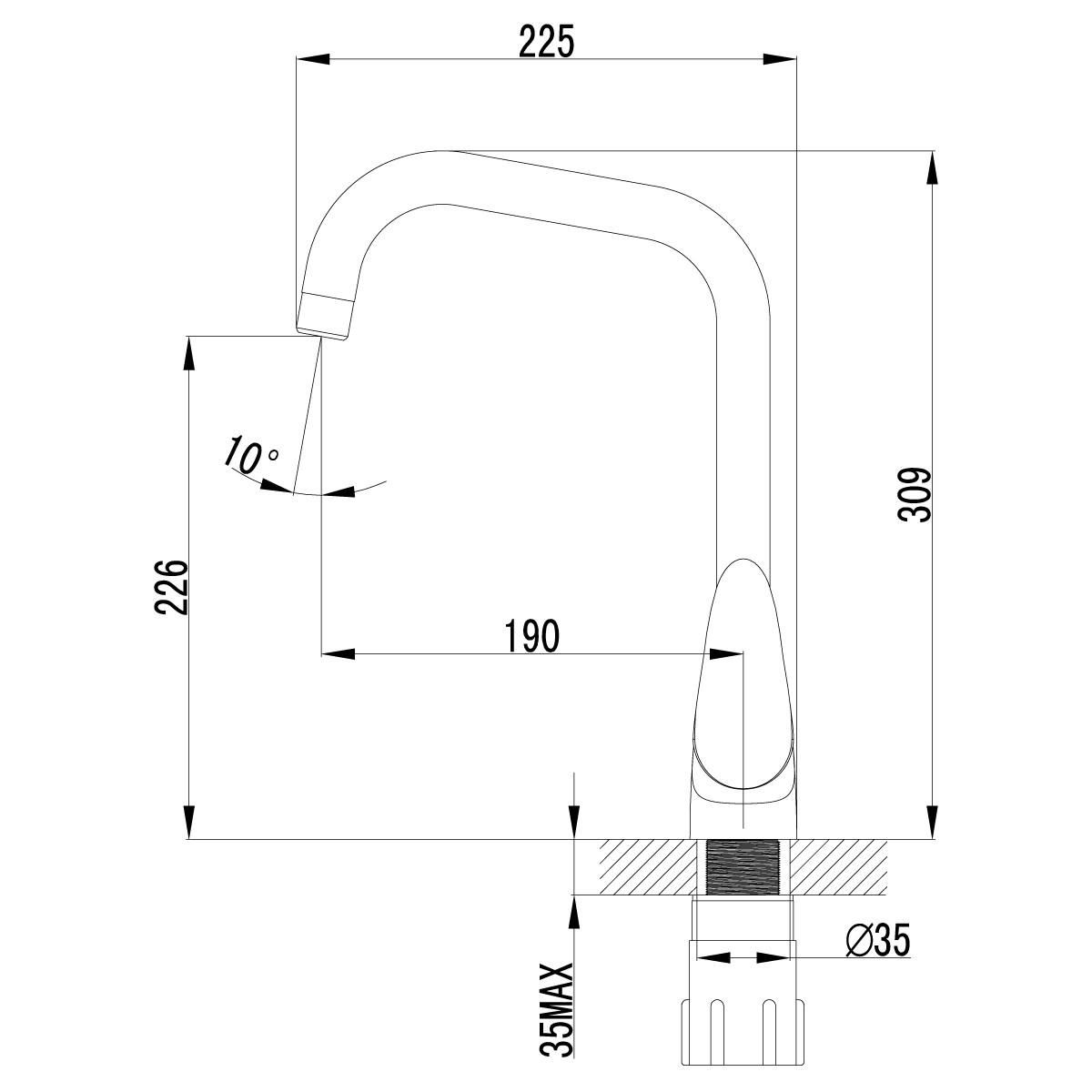 Смеситель для кухни Lemark Pramen LM3355C с высоким поворотным изливом