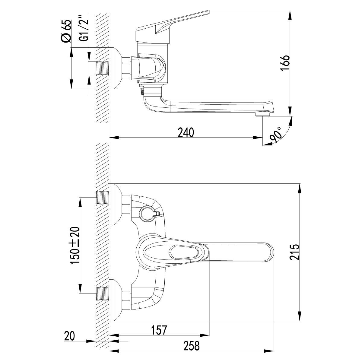 Смеситель для ванны Lemark Luna с поворотным изливом 172 мм