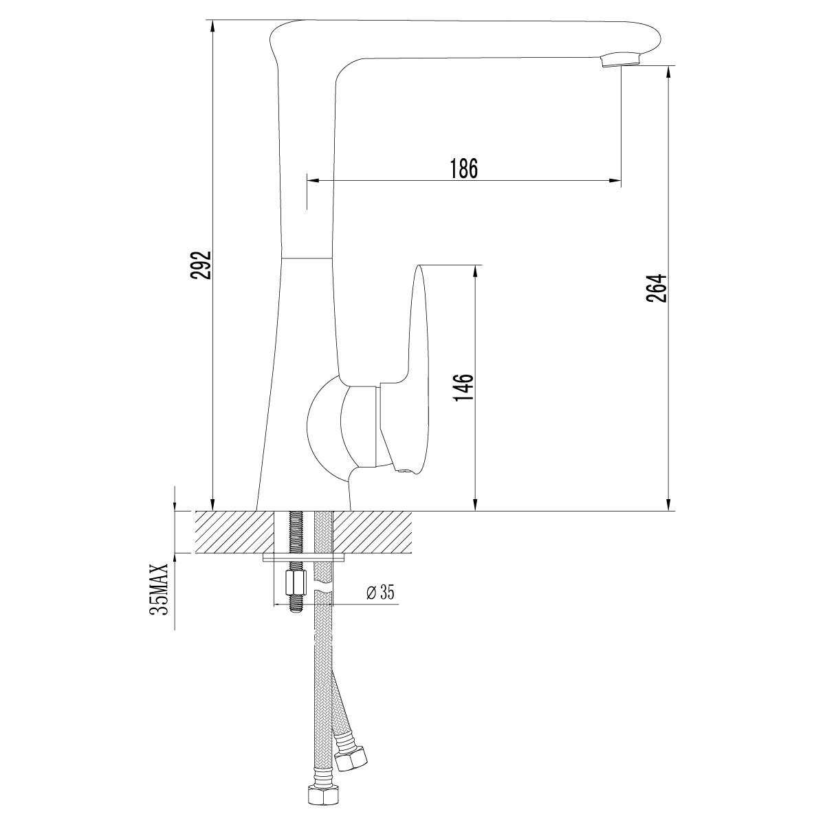 Смеситель для кухни Lemark Status LM4405C с поворотным изливом