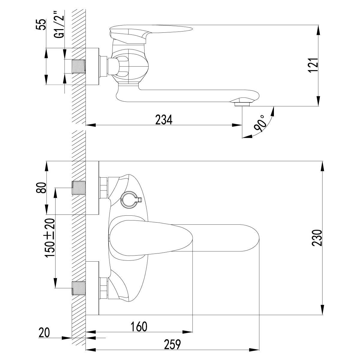 Смеситель для ванны Lemark Status с поворотным изливом 170 мм