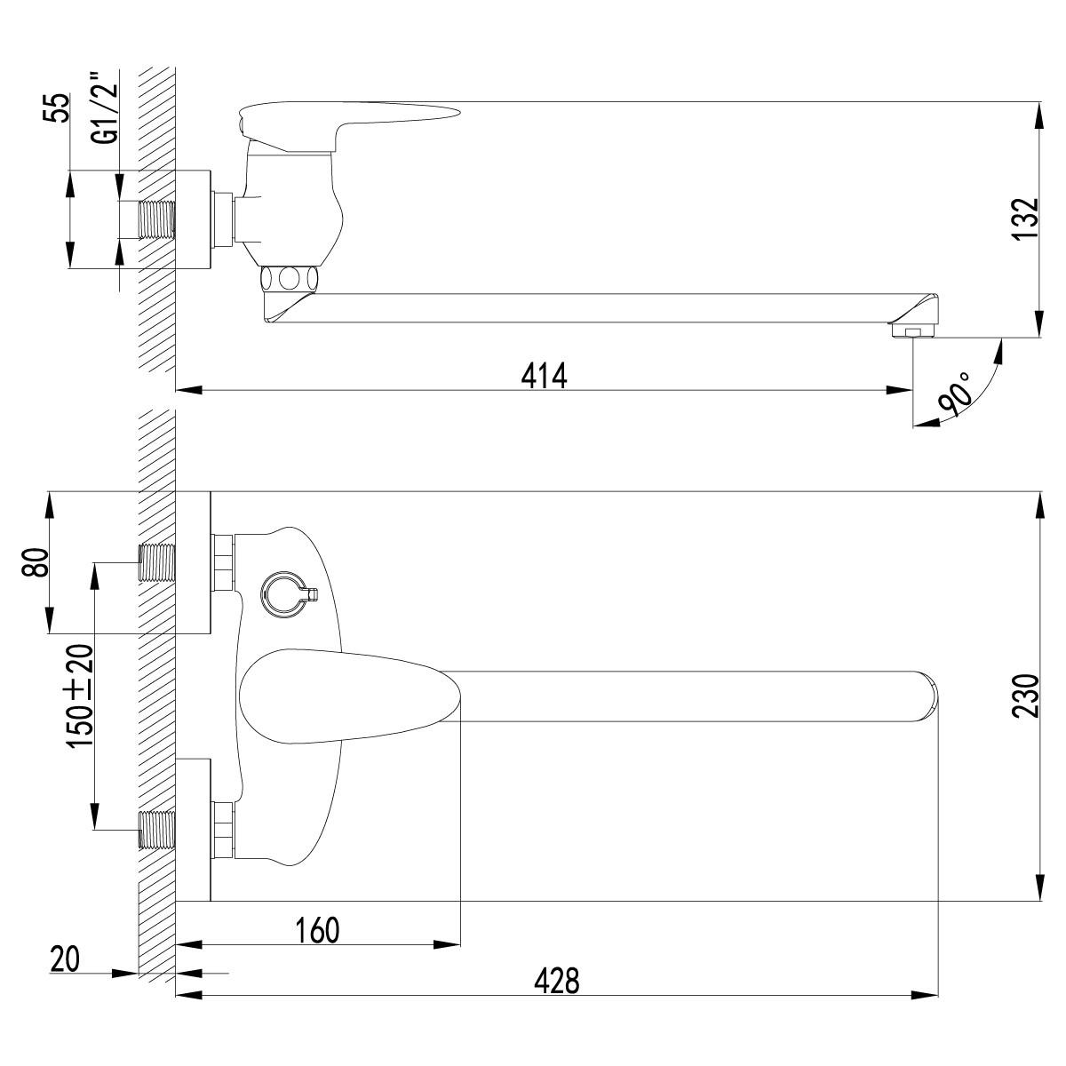 Смеситель для ванны Lemark Status с поворотным изливом 350 мм