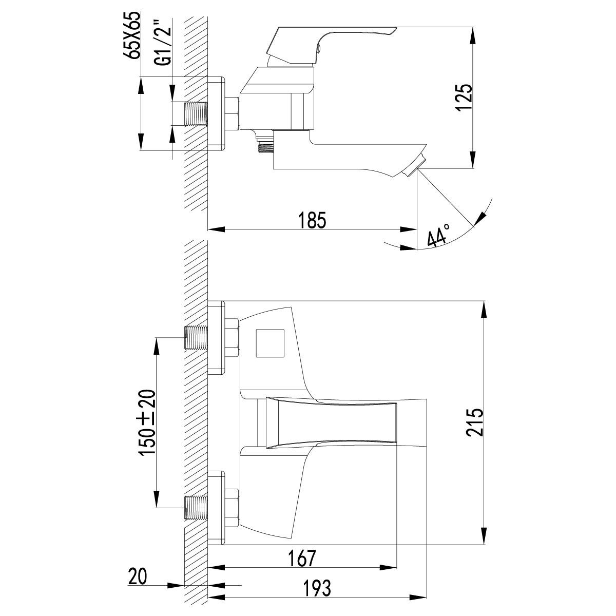Смеситель для ванны Lemark Unit с фиксированным изливом 107 мм