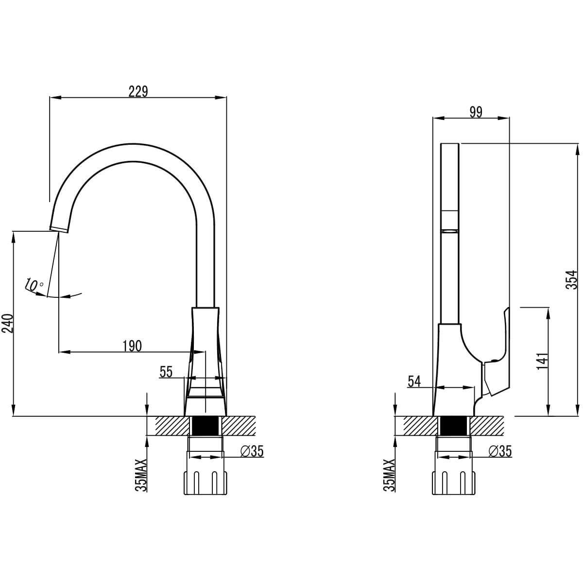 Смеситель для кухни Lemark Unit с высоким поворотным изливом